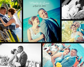 Wedding Day Collage Thank You | Destination Wedding Reception | Group Photo on the Beach