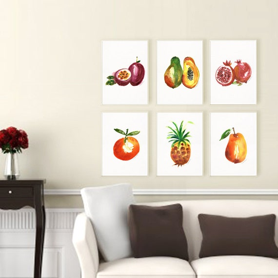 Home Kitchen Decor Picture Fresh Fruit Salad Wall: Kitchen Art Set Tropical Fruit Print Set Of 6 Watercolor
