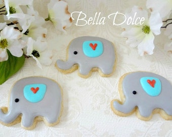 Sweet Grey Blue and Red Baby Elephant Cookies - 1 Dozen (12) Baby Shower Favor - Birthday Gift - Baby Girl