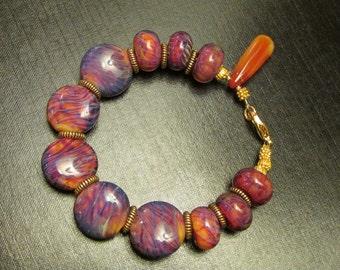 Lampwork Bracelet, Lampwork Jewelry, Lampwork Beads, Borosilicate Beads, Borosilicate Jewelry, Fall Bracelet by Josephine's Cotillion