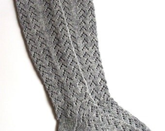 Women's knitted lambswool knee-high Lace Socks/stockings/gray/natural white/boot socks/legwarmers/woolen socks with lace