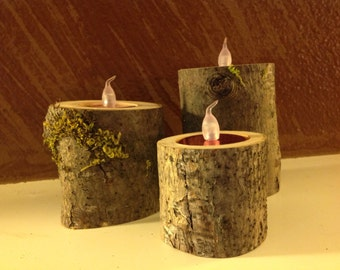 Wood branch tea light holders