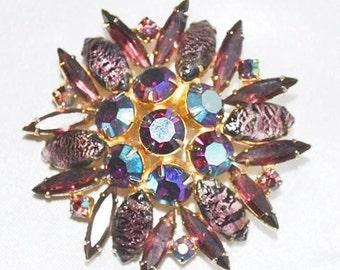 Vintage Juliana DeLizza Elster Foiled Art Glass Brooch