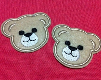 Lot Of 2 Pieces Beige Cutie Bear (5.5 x 4.5) Embroidered Iron on Applique Patch (AL)