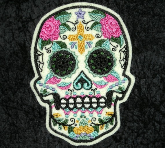 Sugar Skull Iron On Patch Day of the Dead Dia by ...