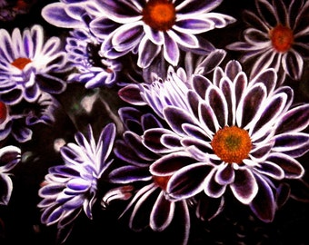 "Original Flower painting, for Sale,  Japanese Purple Mum,  16"" x 20"" , Chrysanthemum,  Christmas, Valentines day gift, mothers day, Birthday"
