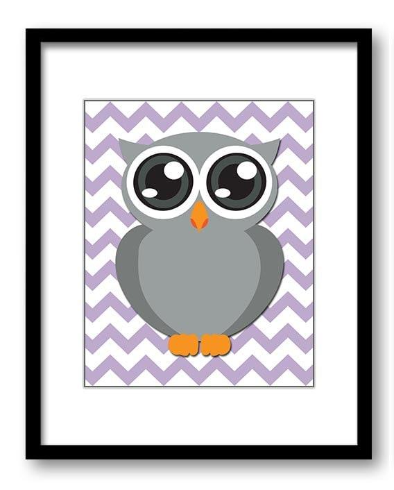 Owl Nursery Art Nursery Print Grey Owl Purple Chrevron Baby Art Baby Animal Pink Print Child Kids Wa