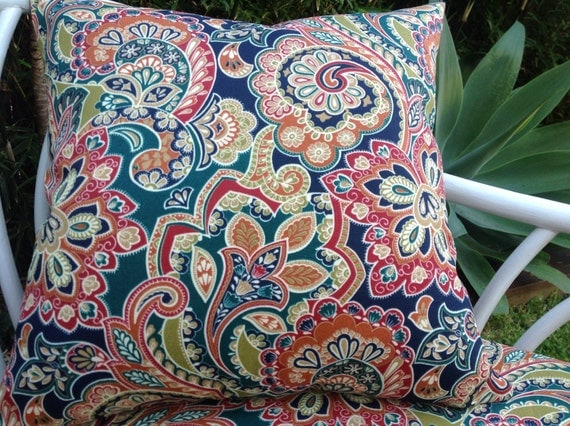 Red Paisley Outdoor Pillows 100