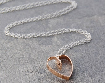Handmade Lace Heart Necklace - Rose Gold Pendant