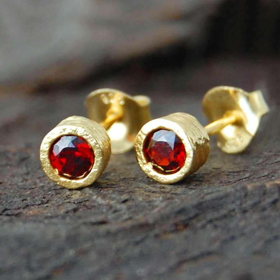 garnet studs gold garnet earrings gold gemstone earrings