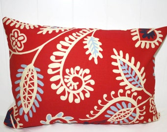 Decorative Paisley lumbar pillow 12x16 with Red, Cream, Light and Dark Blues Pillow Cover