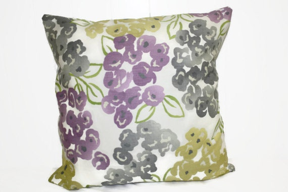 Items similar to Decorative Pillow Cover, Gold, Purple, and Gray Floral Throw Pillow, Robert ...