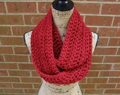 New Dark Red Cranberry Handmade Crochet Infinity Scarf Cowl Neck Warmer