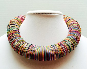 Paper necklace, Paper jewelry, Colorful, Rainbow, festive jewelry, Bold Statement necklace, adjustable, Metal free jewelry, hemp