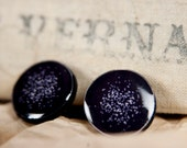BLACK STUD EARRINGS - Galaxy Studs - Black Stud - Small Round Studs - Violet Stud - Dot Stud - Everyday Earrings by Candy Fox