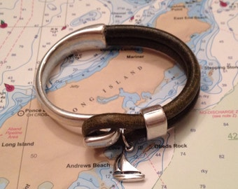 Sailwinds Nautical Bracelet - Captain Hook - Leather Sailboat Charm Bracelet Hand-Crafted in Maine