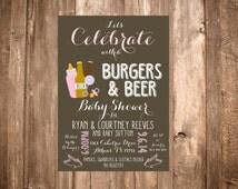 Burgers & Beer Baby Shower Invitation
