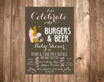 Burgers & Beer Baby Shower Invitation; Pink: Printable or set of 10