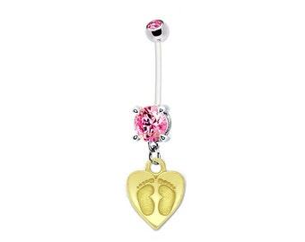 Pregnancy Belly Button Ring Goldtone BABY FEET on HEART Pink Gem 14g BioFlex Navel Piercing Maternity Jewelry