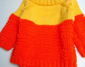Cotton yellow and orange pullover BB with hat(cap) and gloves. To order.