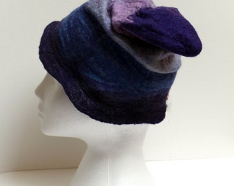 Shades of blues through to lilac for this unique handmade wet felted Pixie style hat OOAK