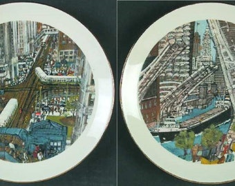 Pair Of Chicago Scene Collectible Plates, Rush Hour In The Loop and Great Lake Traffic, Franklin McMahon 1978.