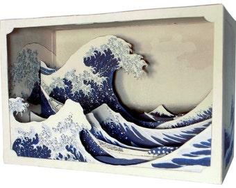 DIY Paper diorama  hokusai - The Great Wave off Kanagawa - paper craft - paper art - japanese art