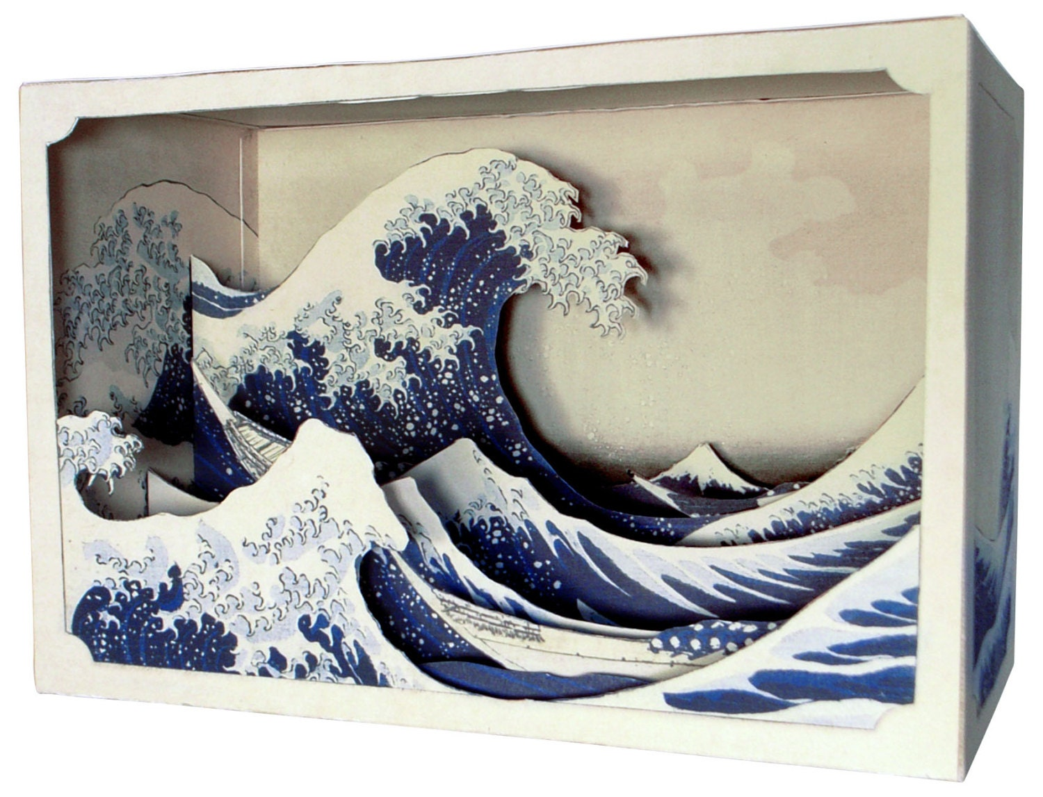 Diy paper diorama hokusai the great wave off kanagawa for Diy 3d art