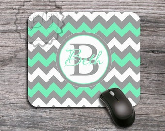Monogrammed Mouse Pad - Cute Mint and Gray chevron Personalized Mousepad, custom gift for co-worker, desk accessory - 034