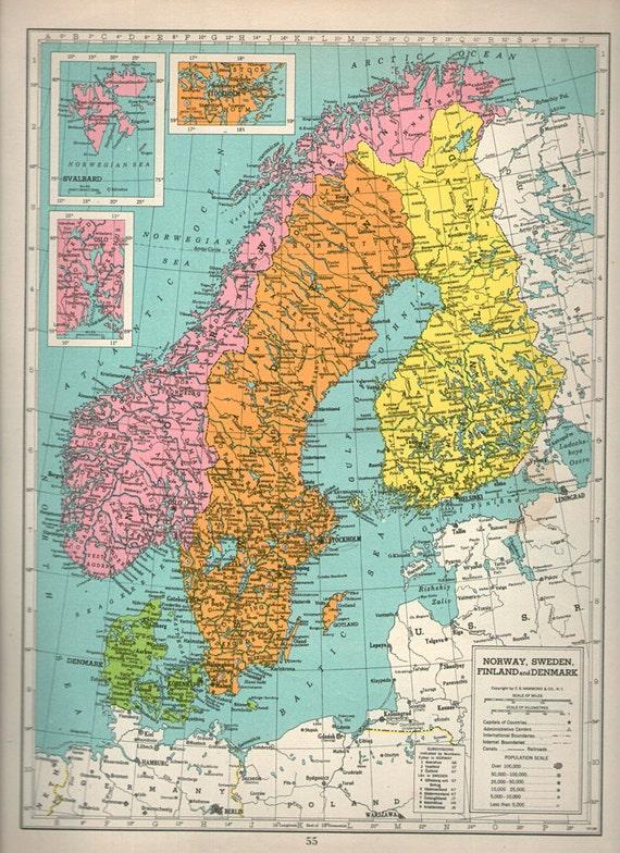gro e bunte karte von schweden 1940er jahre atlas antike. Black Bedroom Furniture Sets. Home Design Ideas