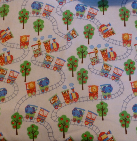 Flannel fabric by the yard circus train with animals in the for Train fabric by the yard