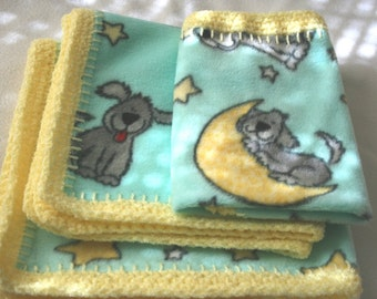 Blue Dogs with Yellow Trim Crocheted Edge Baby Doll Blankets, #B16-65