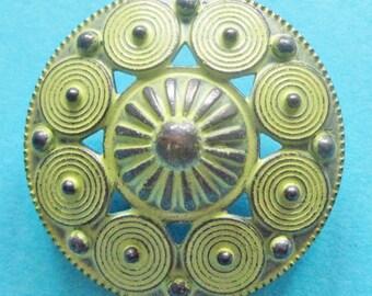Metal buttons - lot 6 pierced metal buttons - green tone metal shank buttons - 25mm - large metal buttons lot