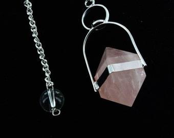 Rose Quartz Herkimer with garnet Cab Pendulum