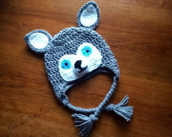 Crochet Little Husky Beanie/ Photography Prop/Made To Order