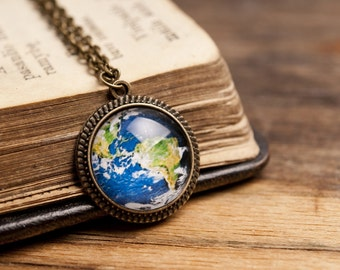 Tiny planet Earth pendant, antique brass pendant, glass pendant, antique bronze pendant, antique brass necklace, planet Earth necklace