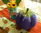 Purple Extra Large Stuffed Fabric Pumpkin, Hand Made Fall Decor, Primitive Autumn Decoration, Plush Halloween Decor