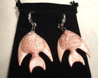 Dangling Pierced Glazed Metal Fish Earrings