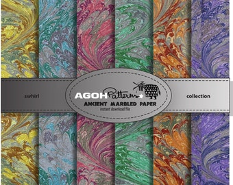 ANCIENT MARBLED paper SHEETS Swhirl collection - 6 digital sheets  12 x 12 inch. /300 ppi - instant download