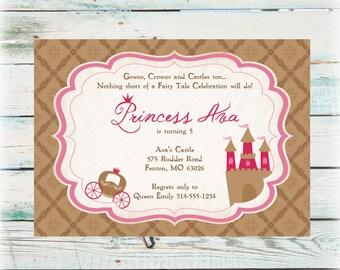 Printable Princess Birthday Invitation - Digital File