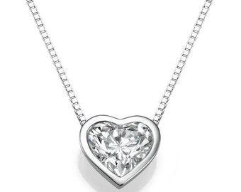 Heart Diamond Pendant Necklace, 14K White Gold Necklace, 1 CT Natural Diamond Pendant, Anniversary Gift, Wedding Jewelry, Love Jewelry