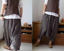 125---Women's Yarn Dyed Linen Harem Pants, Lithuania LInen Yoga Pants, Fisherman Pants, Maternity Clothes, baltic linen (flax).