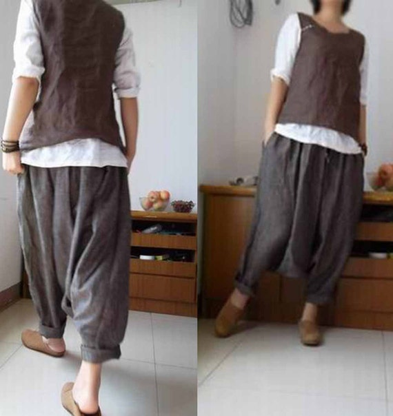 125Loose Yarn Dyed Linen Harem Pants Natural Loose Linen