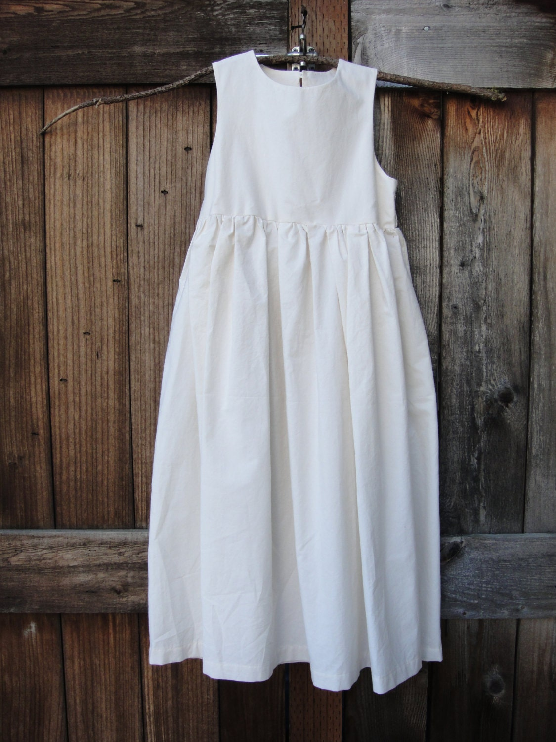 Country Rustic Cotton Flower Girl Dress Size 2T 5T