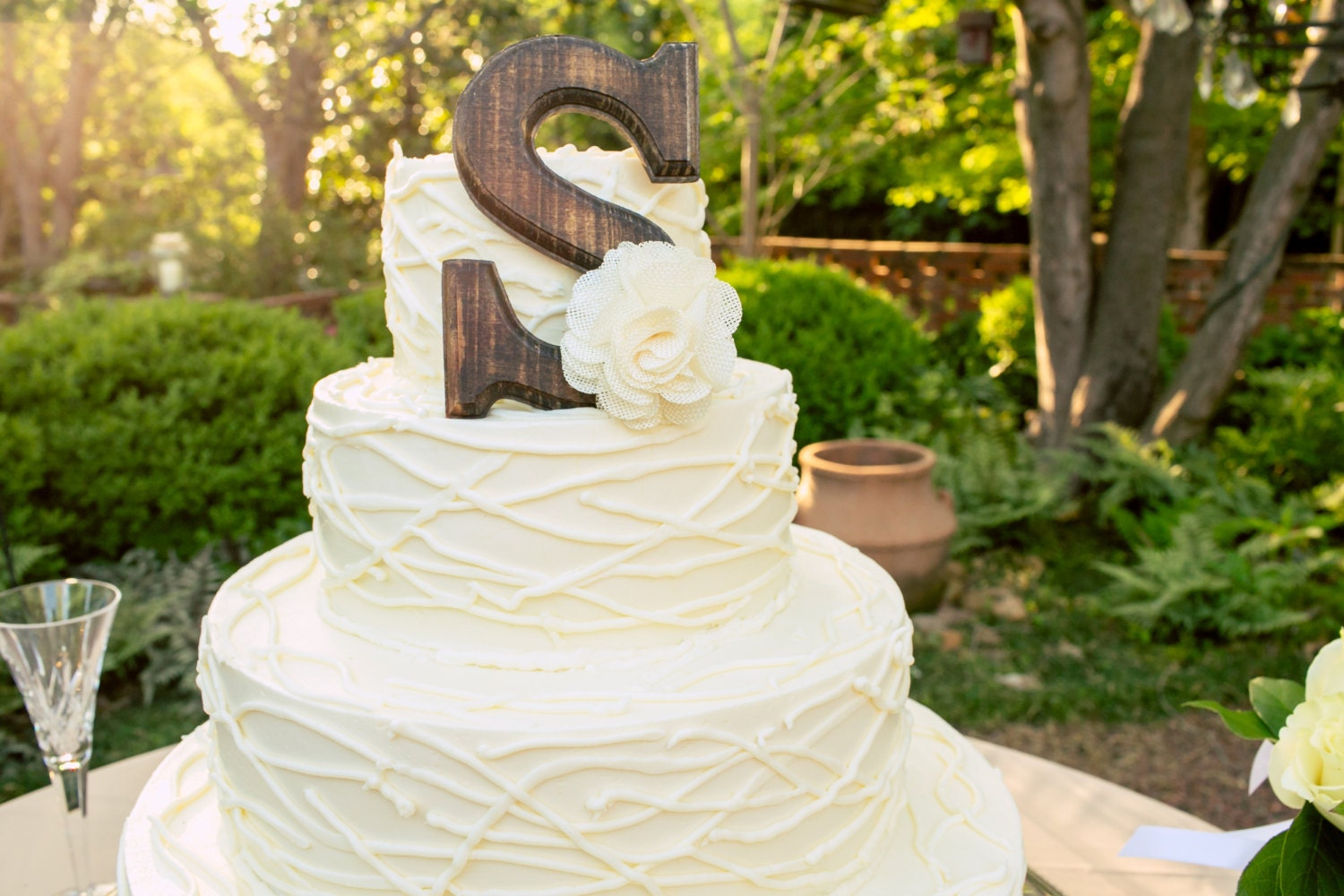 Rustic Cake Topper ANY LETTER with White Burlap Bow