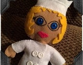 Soft Chef Doll Darlin Jannie, Handsewn Craft Felt Doll, Chef Hat, Chef Jacket, Embroidery, All Handstitched (Gift Boxed, Ready to Ship)
