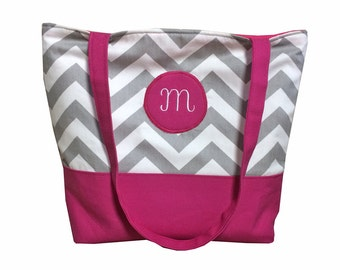 Monogrammed Gray Chevron Tote With Color of Choice