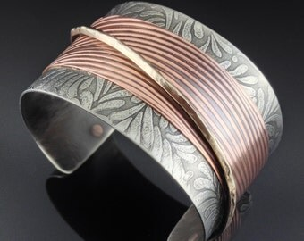 Mixed Metal Cuff Bracelet in Nickel Silver, Copper and Bronze