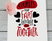 SALE - 60% OFF Funny Valentines Day Card for Couples - Cute Fart Card - Funny Valentines Day Card for Him