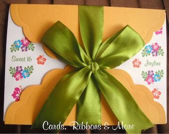Sweet 16 invitation, quinceanera invitation, sweet 16 invitations, sweet 16, luau party, hawaii  party, luau birthday, Hawaiian flowers